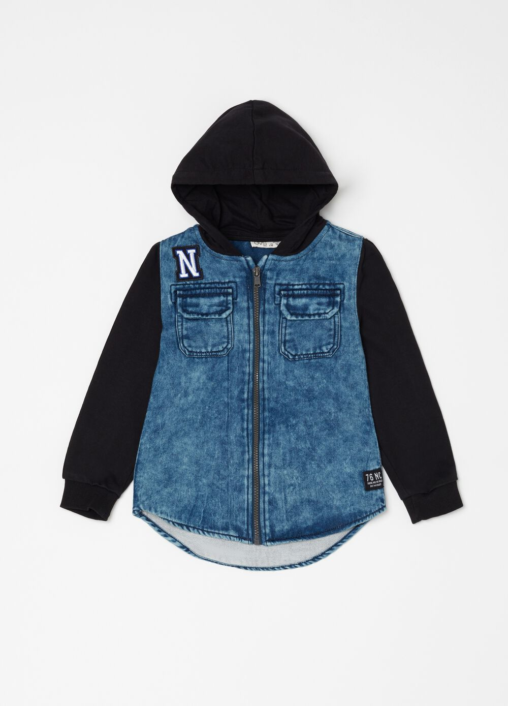 Denim shirt with print and hood