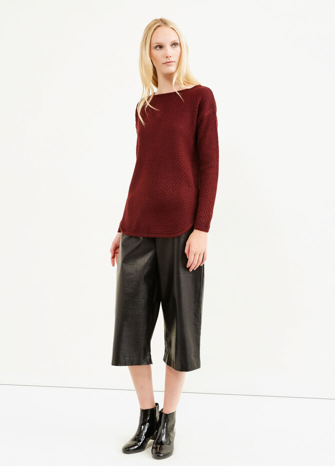 Pullover with boat neck and zip on back