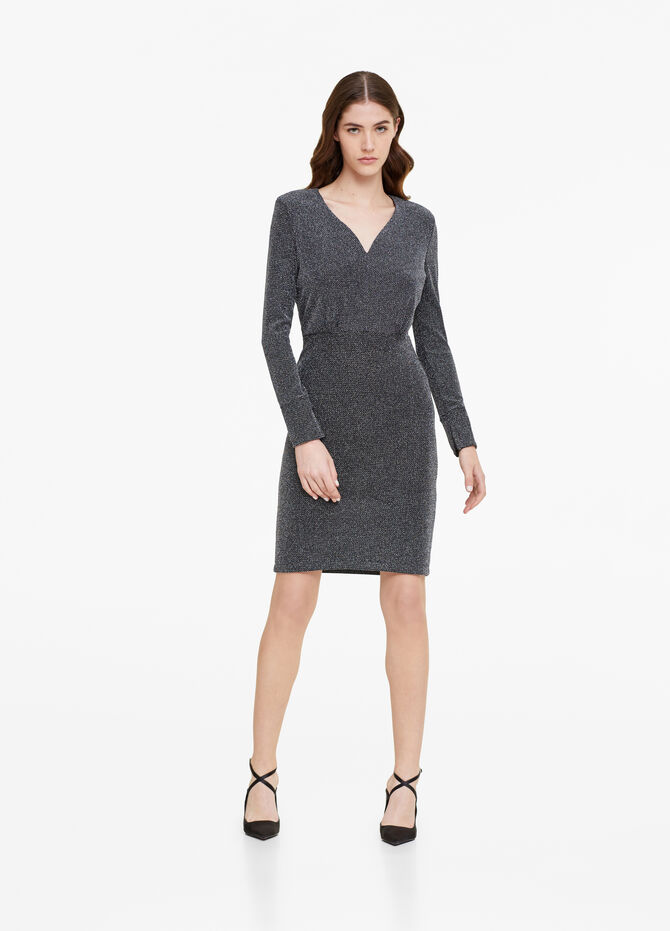 Dress with V-neck and lurex