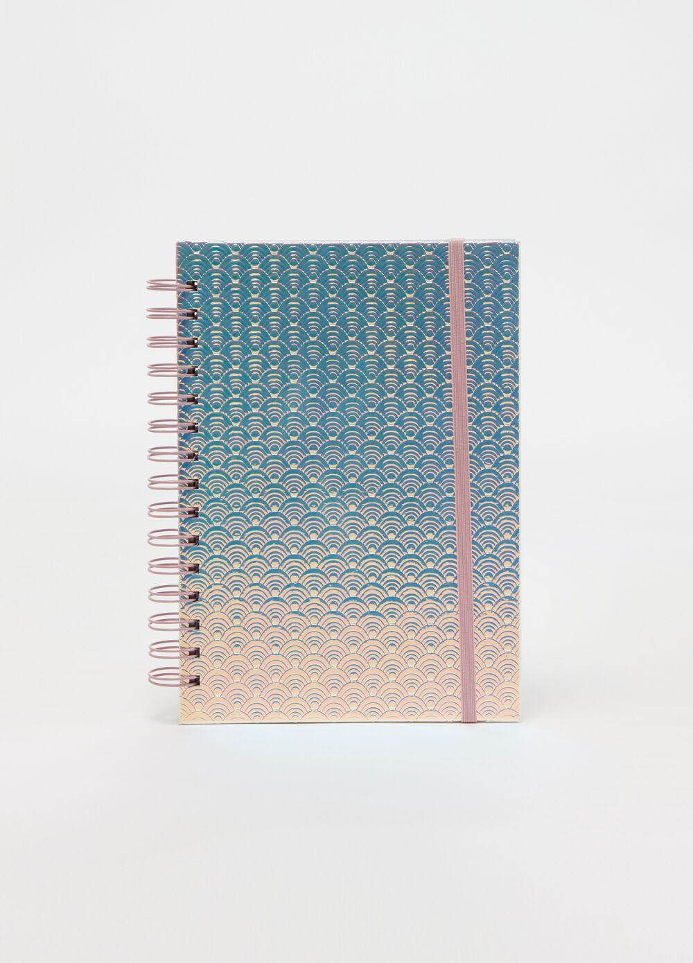 Notebook with spiral binding and pattern