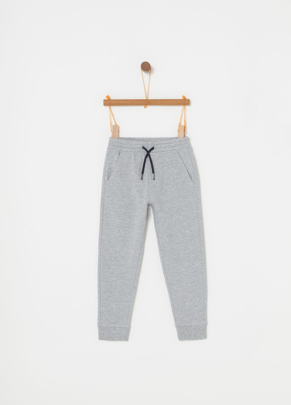 French terry mélange trousers with drawstring