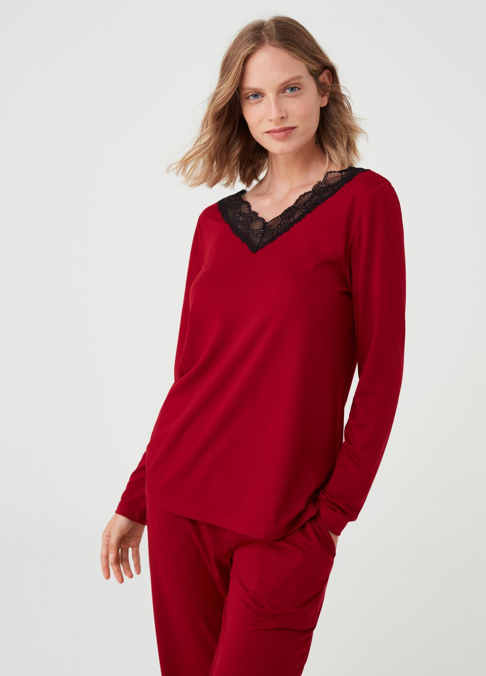 Pyjama top with lace inserts