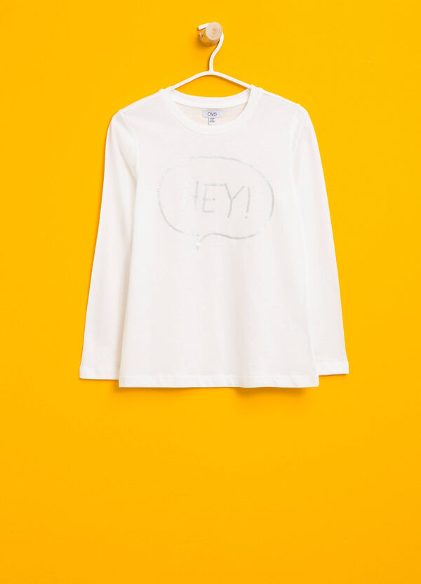 Cotton T-shirt with shiny print | OVS