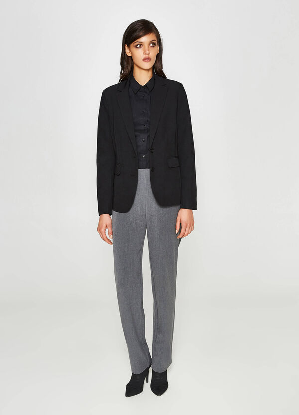 Stretch viscose trousers with high waist | OVS