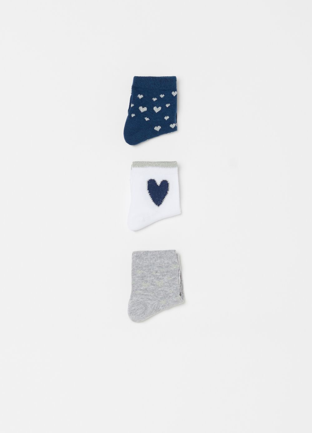 Three-pack short socks with hearts