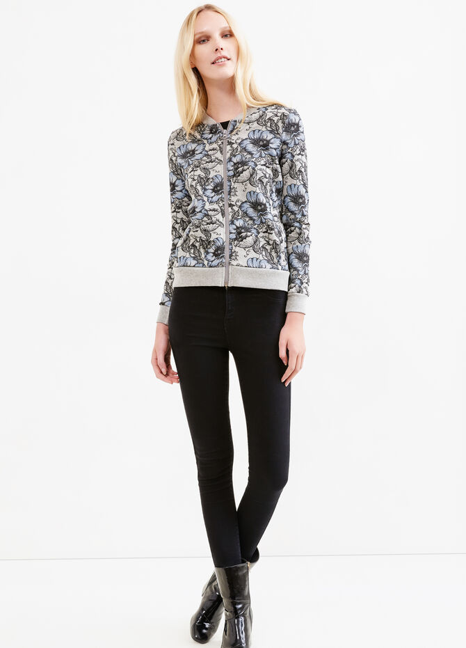 Flower print sweater with Minnie embroidery