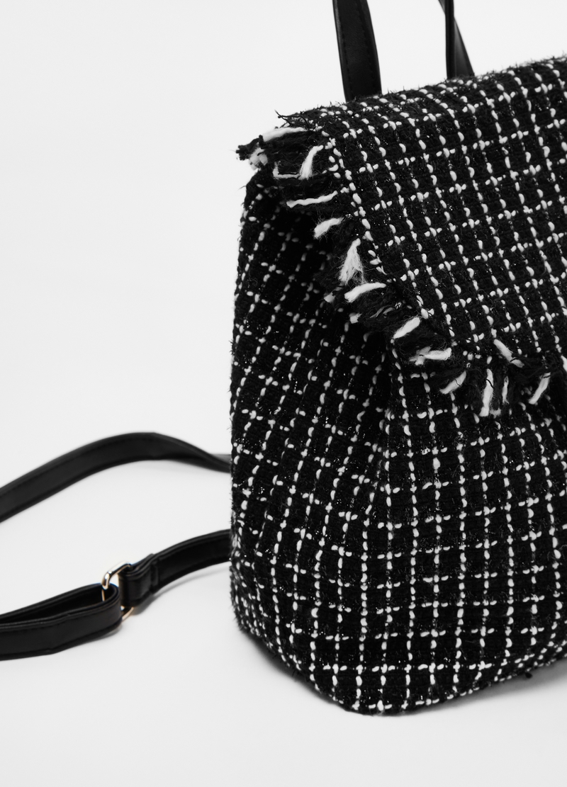 Tweed backpack with lurex details image number null