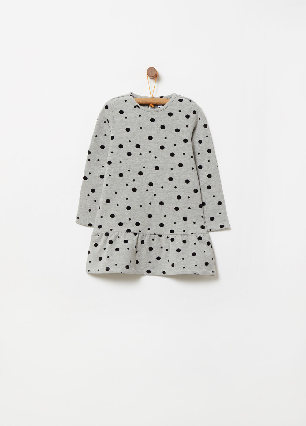 Brushed fleece dress with flocked polka dot print