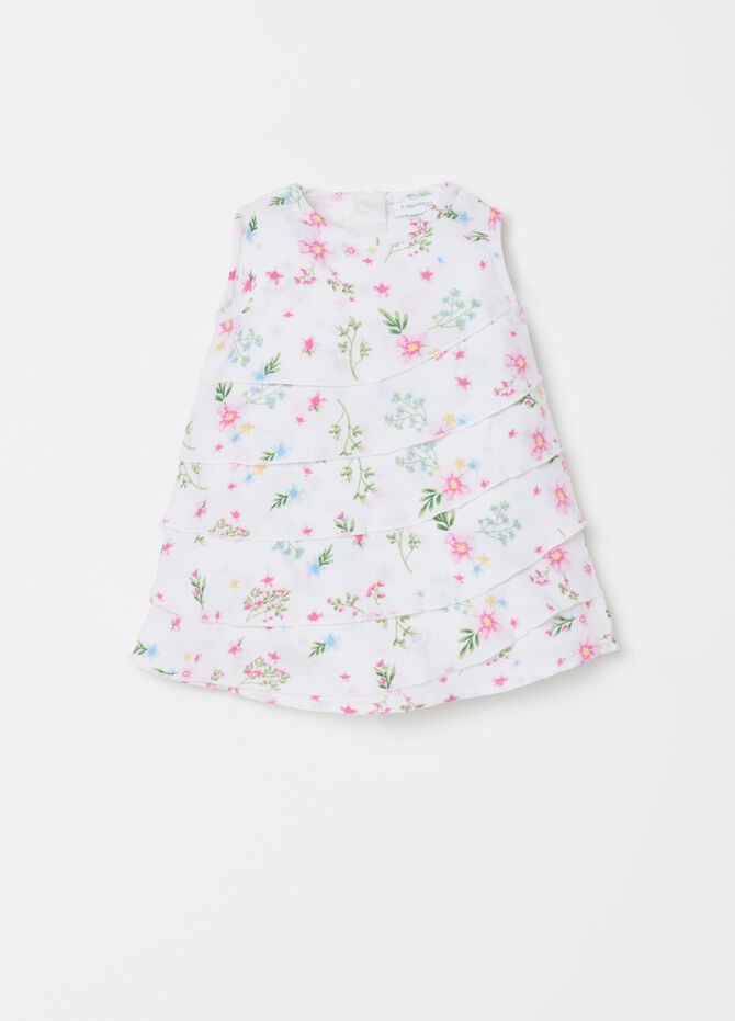 Dress with floral patterned flounce