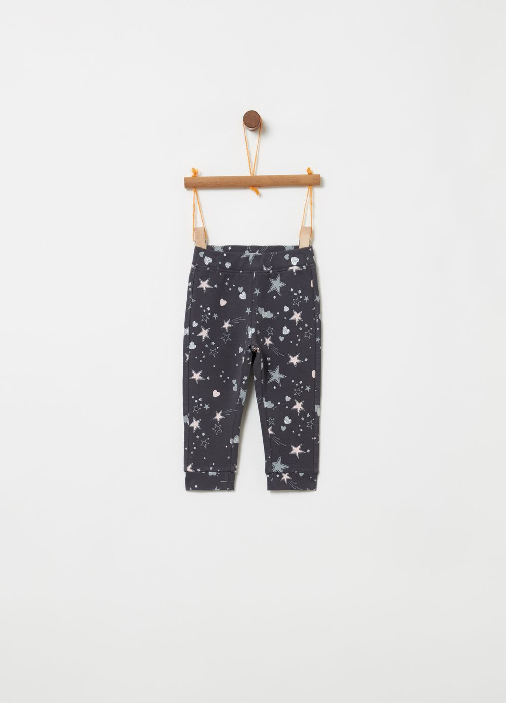 Stretch cotton trousers with glitter print