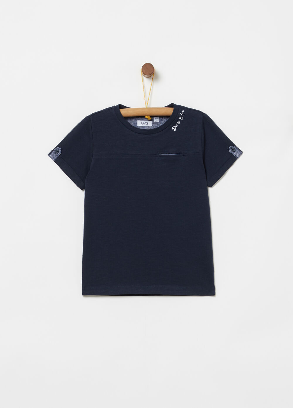 Iridescent cotton T-shirt with welt pocket