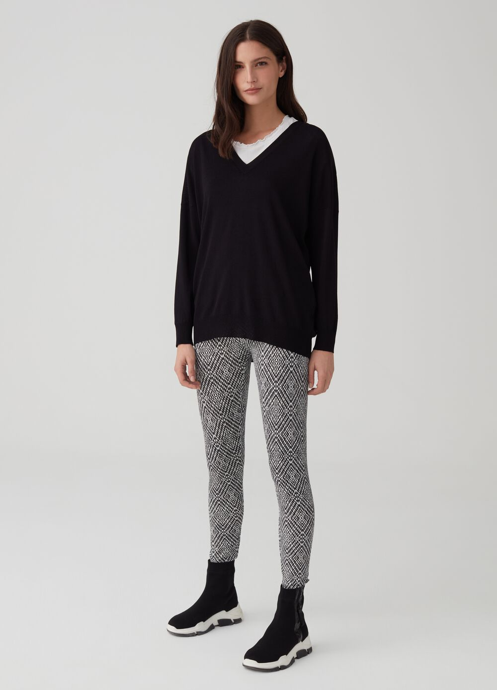 Stretch cotton and viscose leggings with print