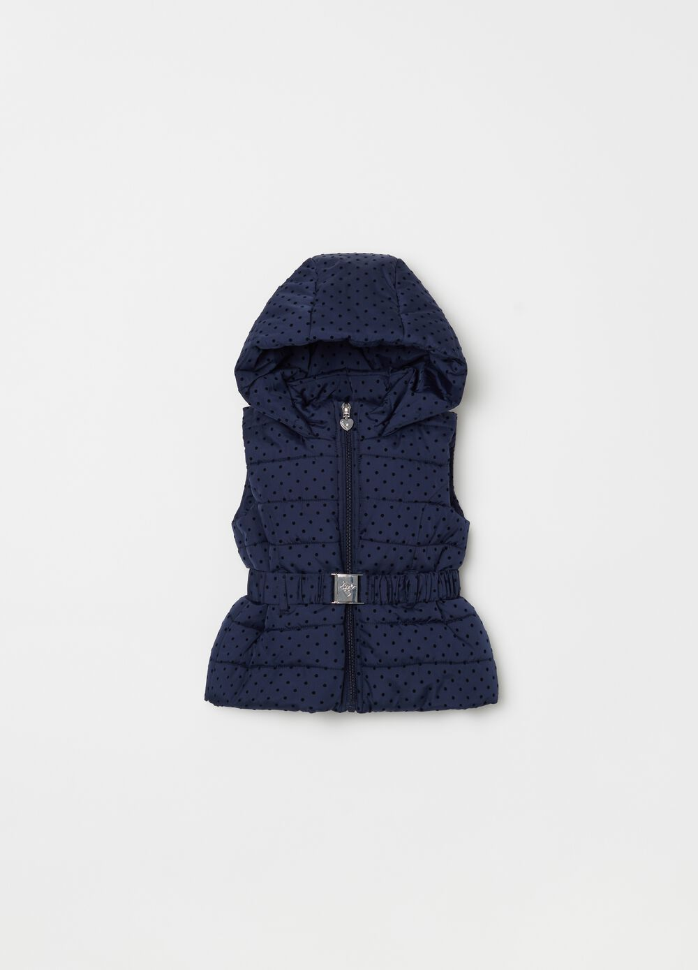 Quilted gilet with hood and polka dot pattern