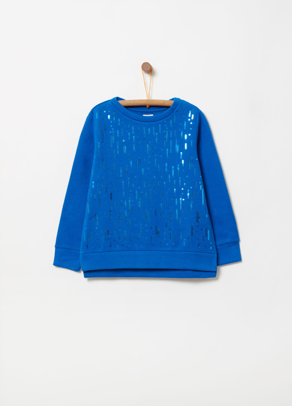 Sweatshirt with embroidery covered in sequins