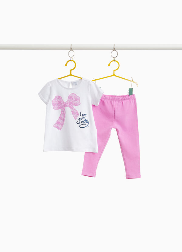 Stretch outfit with bow print