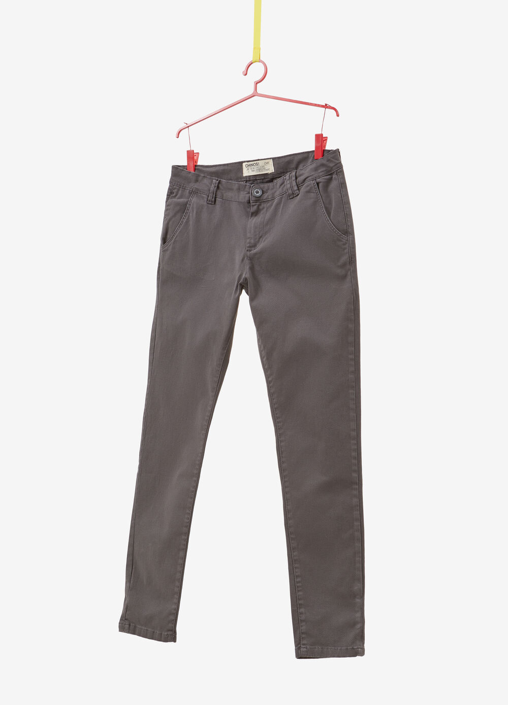 Stretch cotton chino trousers with polka dot print