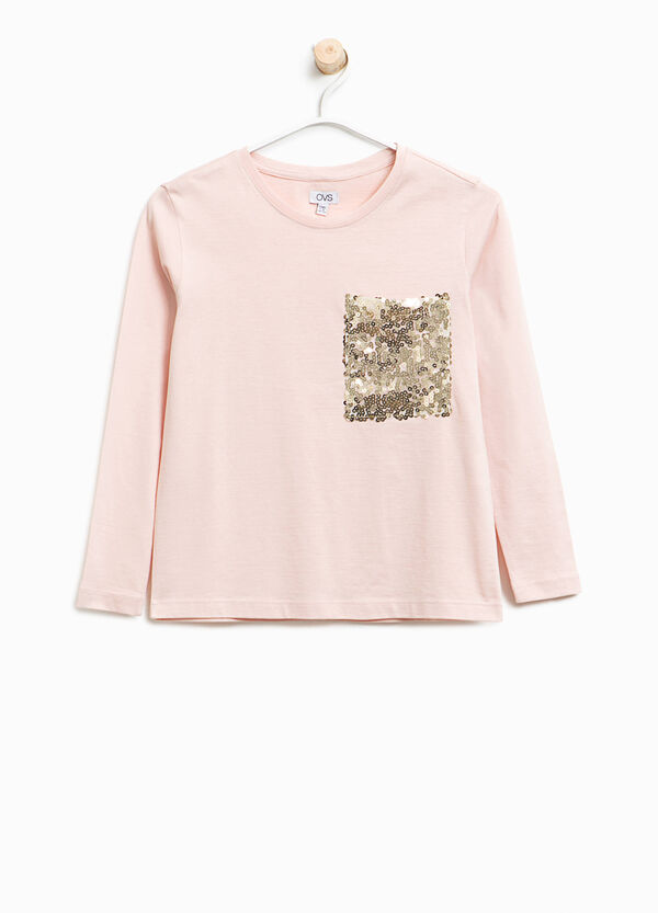 Cotton T-shirt with sequinned pocket | OVS