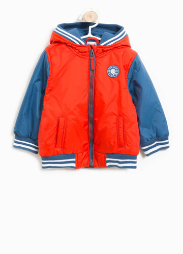 Jacket with hood and patches