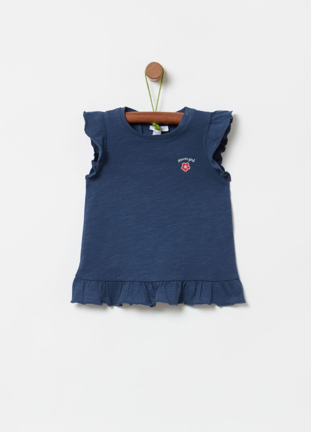 100% organic cotton T-shirt with frills