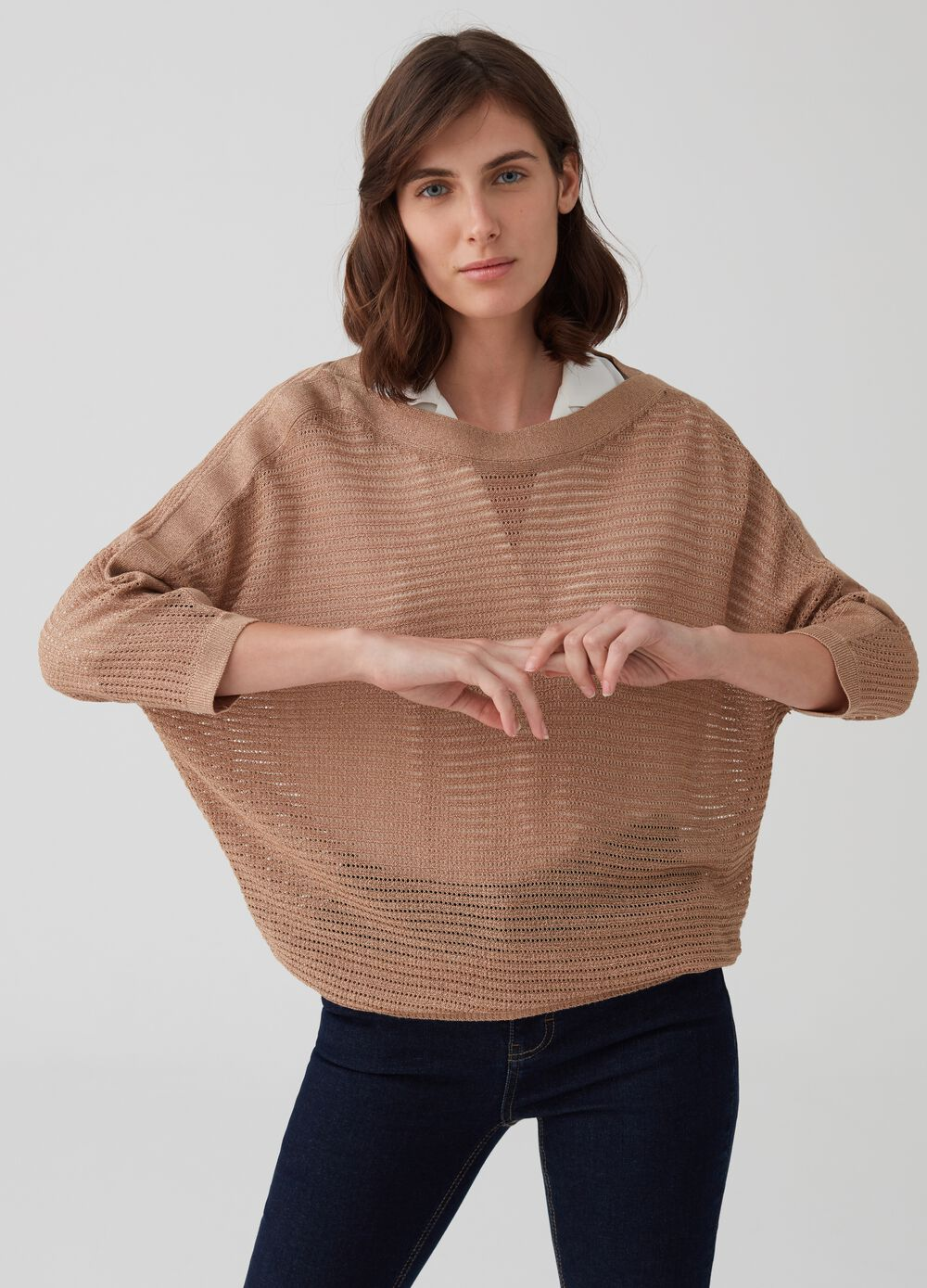 Openwork pullover with batwing sleeves