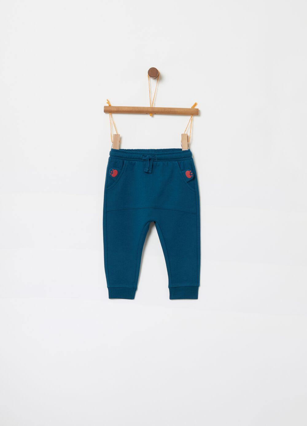 Trousers in French terry with paw prints