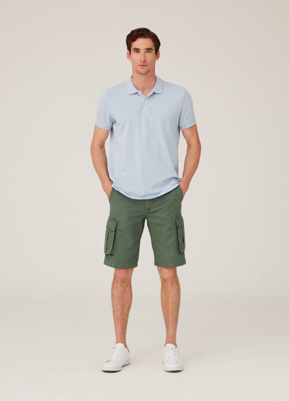 Cargo chino shorts in linen and cotton with pockets