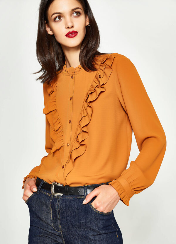 Shirt with Mandarin collar and flounce | OVS