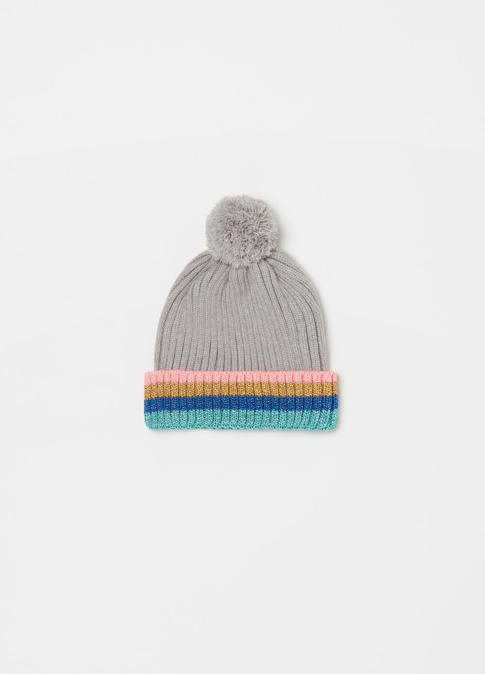 Hat with pompom and striped pattern