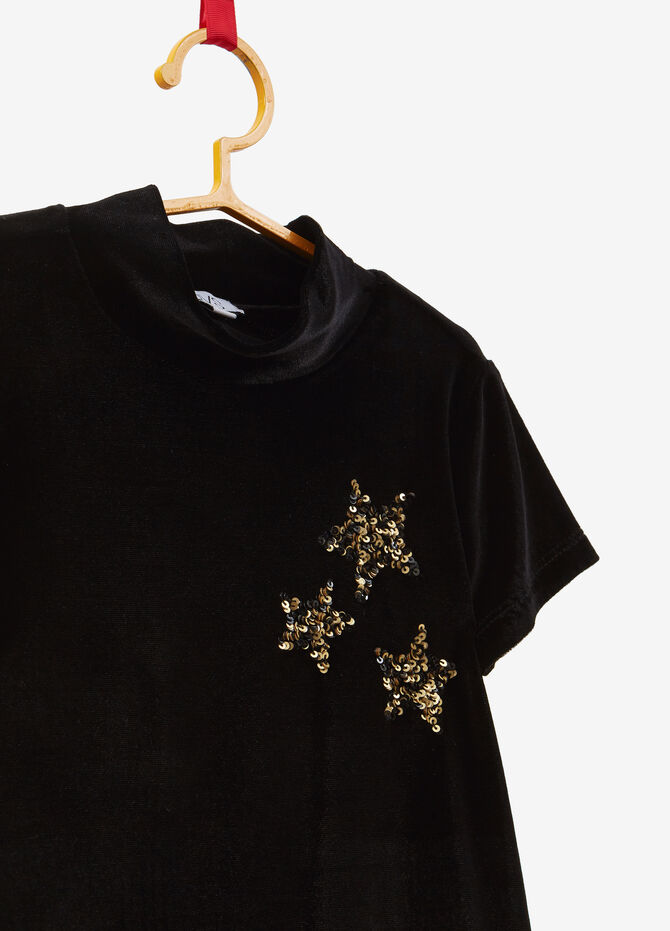 T-shirt with high neck and star sequins