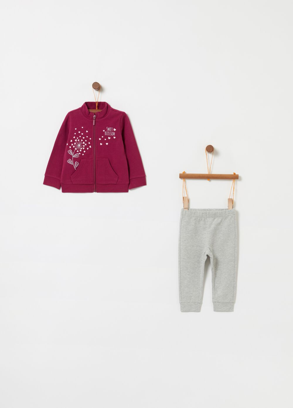 Jogging set felpa e leggings stampa