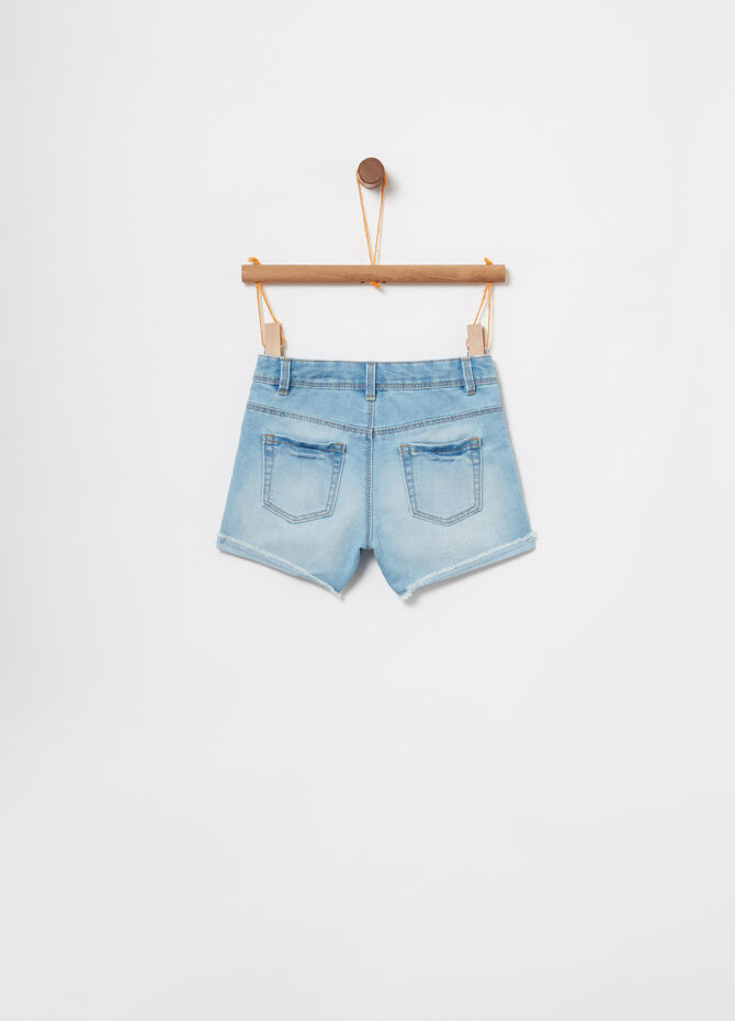 Denim shorts with adjustable waist and embroidery