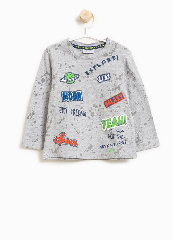 Printed T-shirt cotton and viscose with pattern | OVS