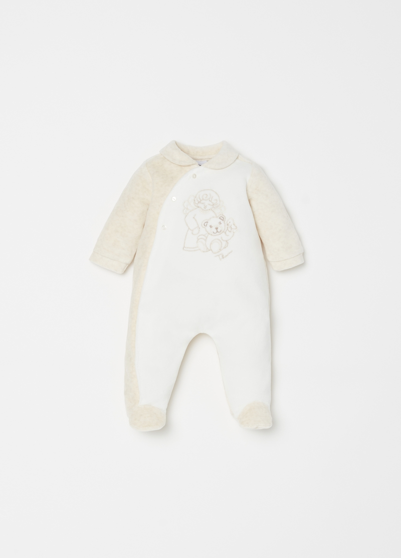 Onesie With Feet And Thun Teddy Embroidery Ovs Es