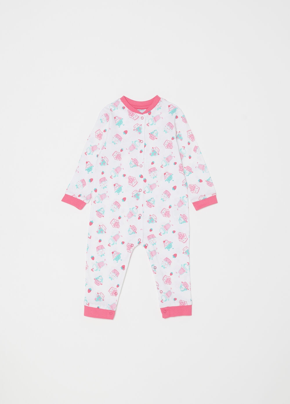 Onesie in 100% cotton with cake pattern