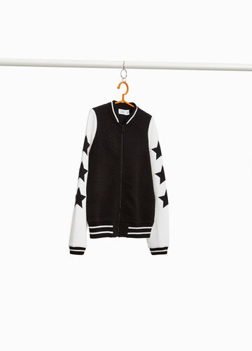 Diamond and striped weave bomber jacket