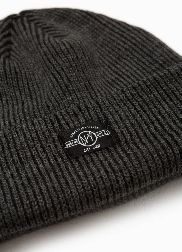 Beanie cap with patches