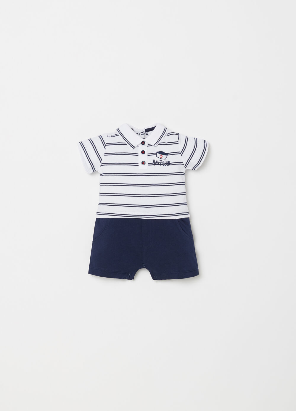 Short onesie with striped T-shirt and trousers
