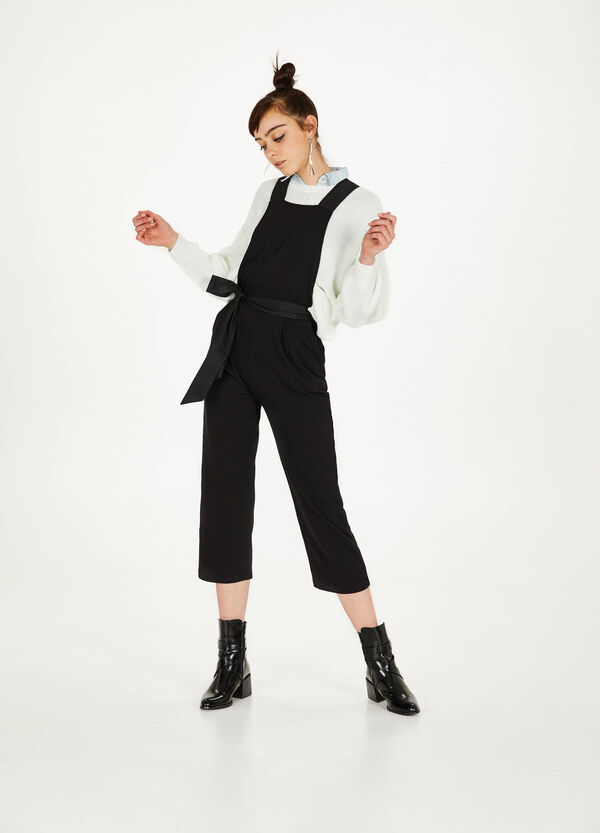 Cotton blend dungarees with belt