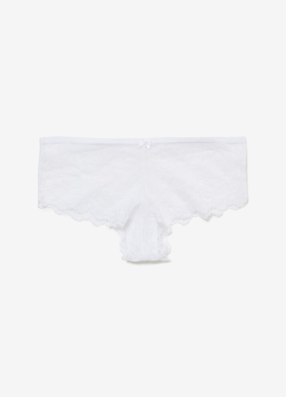 Stretch lace French knickers with bow