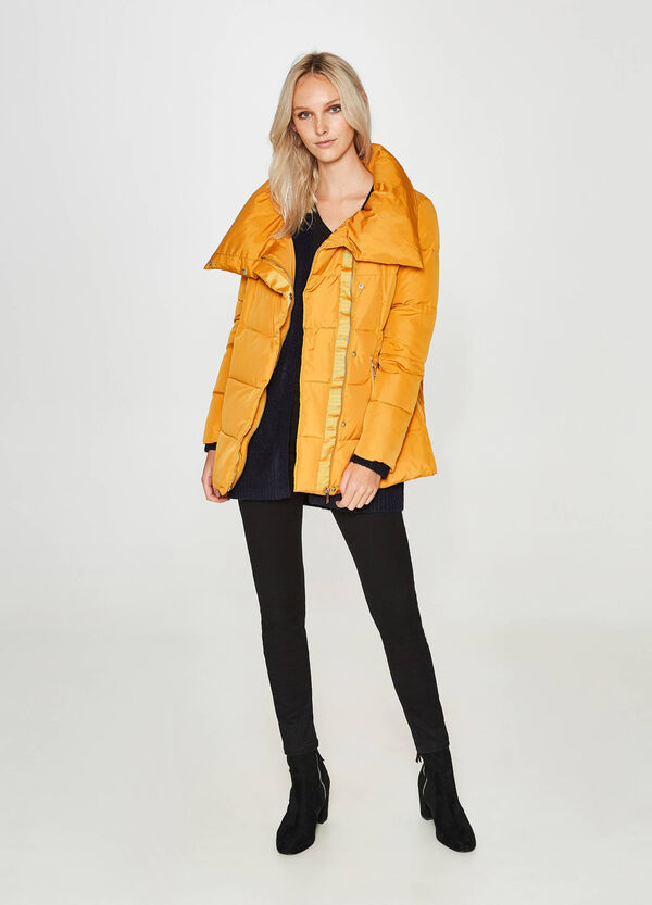 Down jacket with folded high neck | OVS
