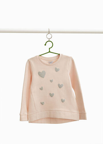 Sweatshirt with glitter hearts print
