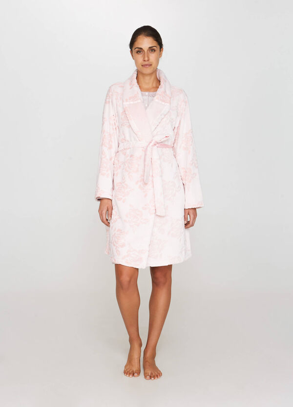 Solid colour dressing gown with floral weave