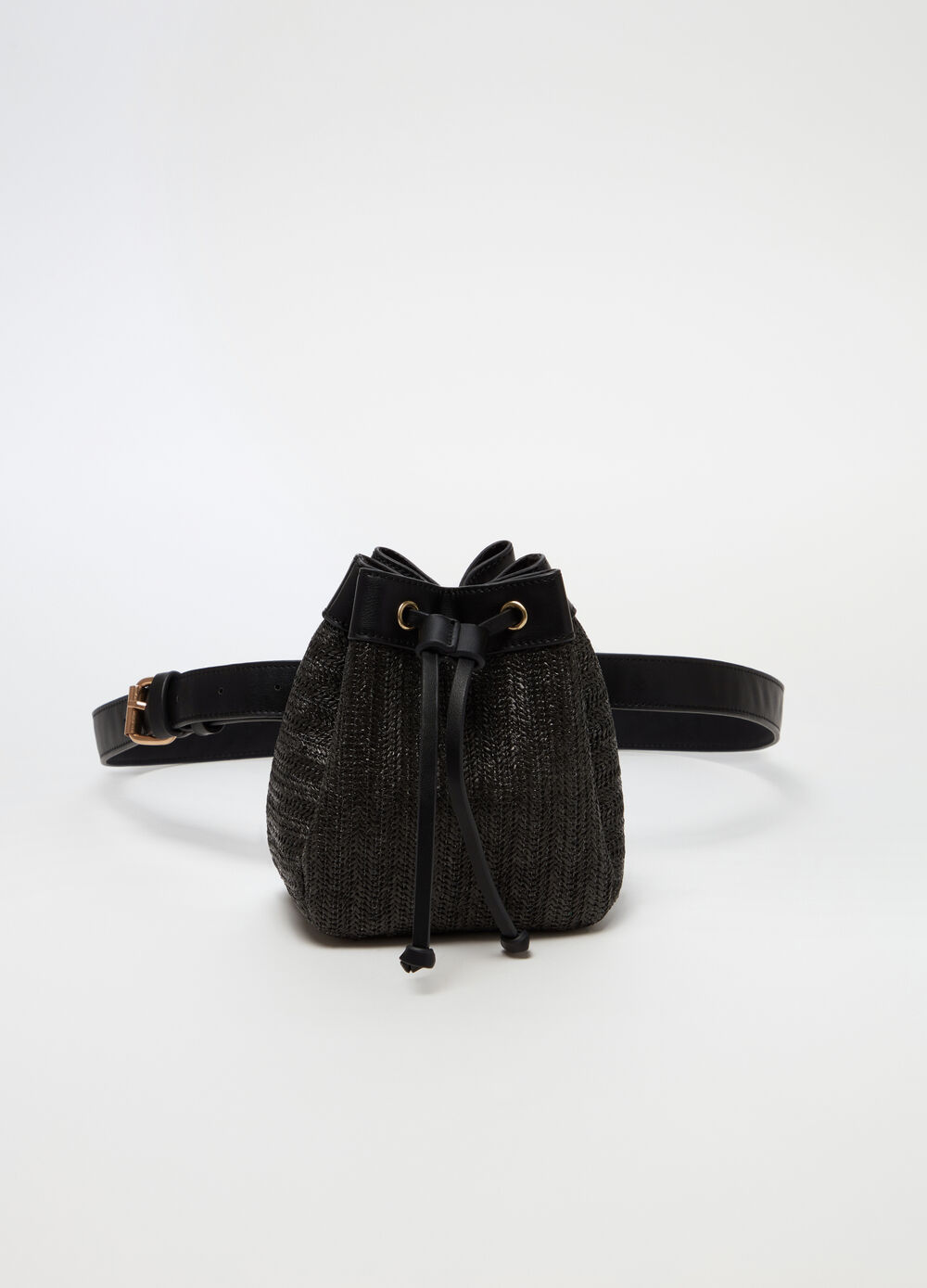 Raffia-effect bucket bum bag