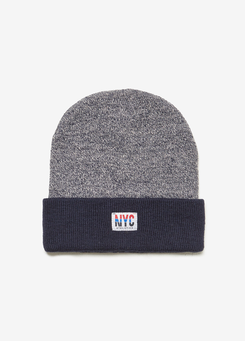 Two-tone beanie cap with fold