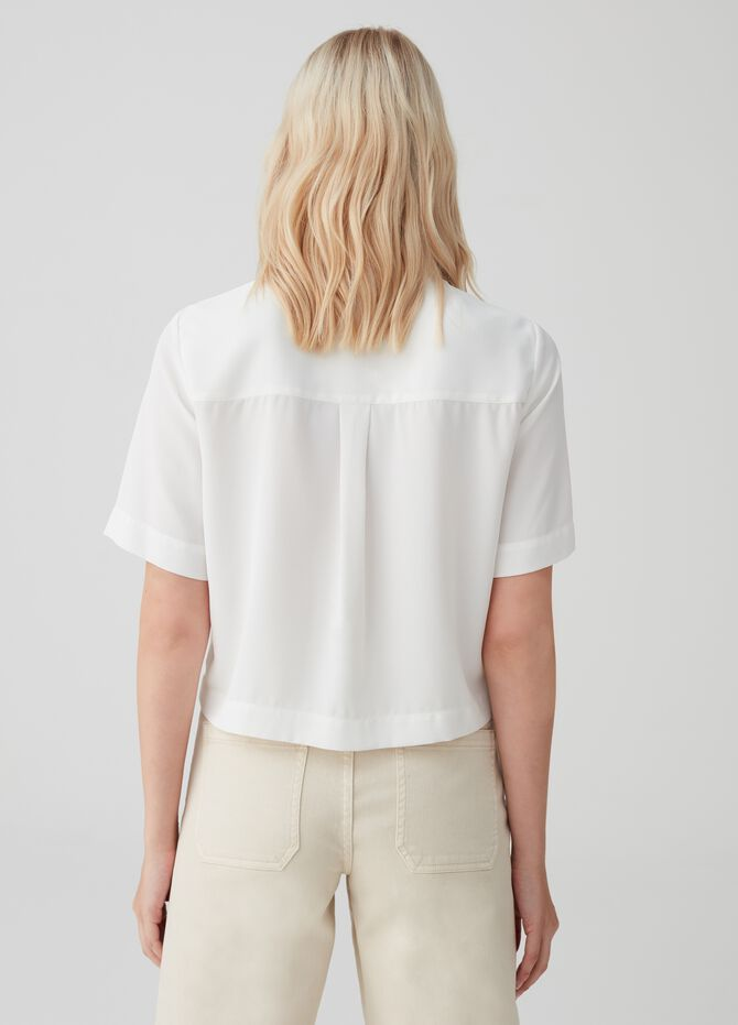 Crop shirt with short sleeves and buttons