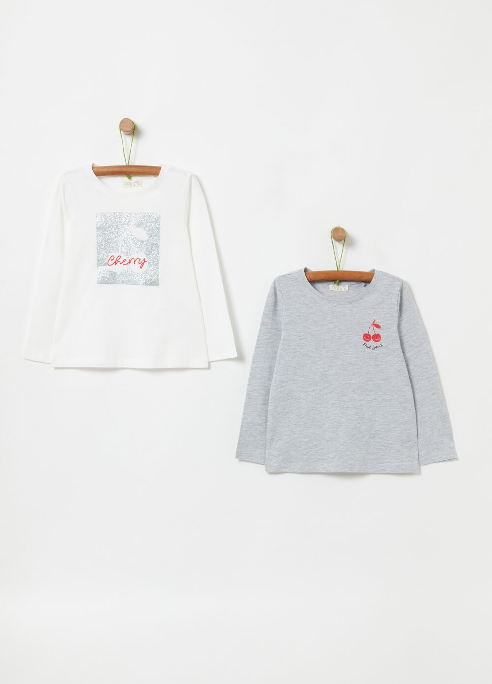 Two-pack T-shirts with cherry print