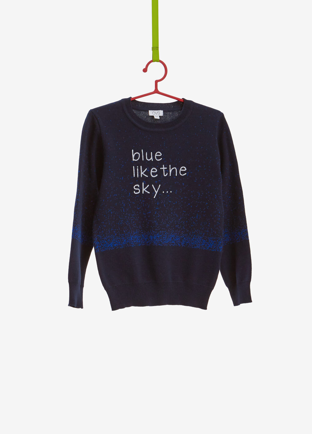 Pullover with degradé printed lettering