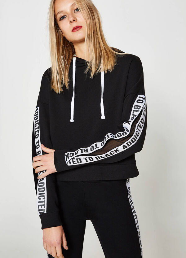 Crop sweatshirt with bands and inserts