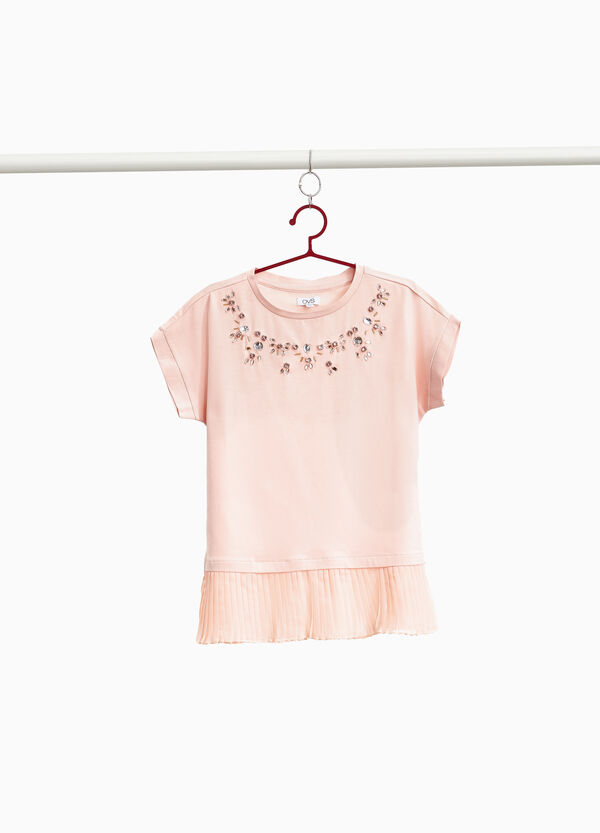 Faux layered pleated T-shirt with diamantés