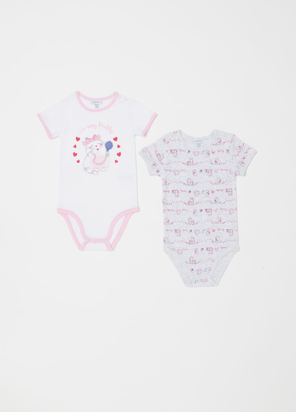 Set of two patterned biocotton bodysuits with short sleeves
